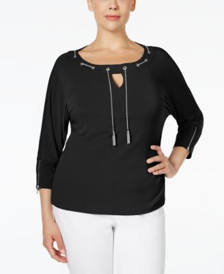 Calvin Klein Plus Size Chain-Neck Keyhole Top