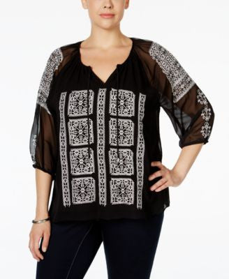 Calvin Klein Plus Size Embroidered Chiffon Peasant Blouse