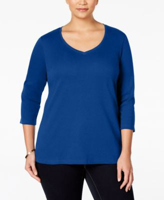 Karen Scott Plus Size V-Neck Top, Only at Vogily