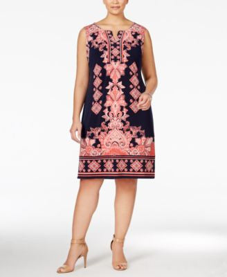 JM Collection Plus Size Printed Sheath Dress, Only at Vogily