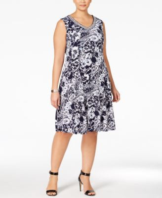 JM Collection Plus Size Printed Fit & Flare Dress, Only at Vogily