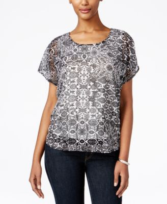 Style & Co. Embellished Printed Top, Only at Vogily
