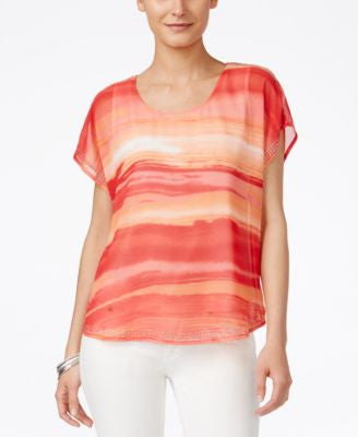 Style & Co. Printed Embellished Short-Sleeve Top, Only at Vogily