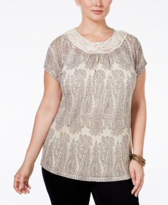 Lucky Brand Trendy Plus Size Macramé-Trim Printed T-Shirt