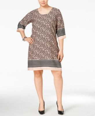 Junarose Plus Size Border-Print Shift Dress