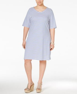 Junarose Plus Size Tie-Back Striped T-Shirt Dress