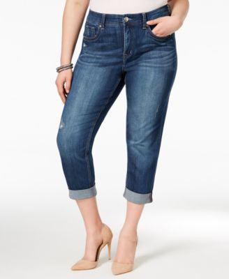 Melissa McCarthy Seven7 Plus Size Crosby Wash Ripped Cropped Jeans