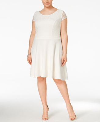 Trixxi Trendy Plus Size Short-Sleeve A-Line Skater Dress
