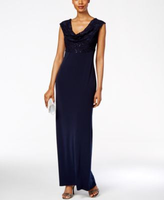 Connected Petite Lace Cowl-Neck Gown