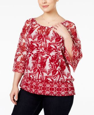 INC International Concepts Plus Size Printed Peasant Top, Only at Vogily