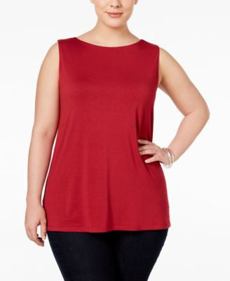 INC International Concepts Plus Size Boat-Neck Tank Top, Only at Vogily