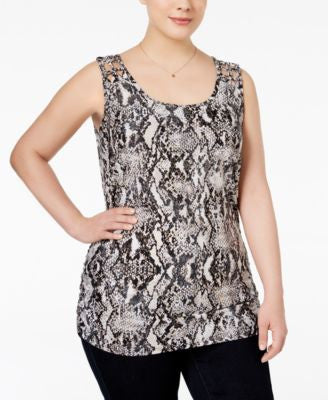 INC International Concepts Plus Size Snakeskin-Print Tank Top, Only at Vogily