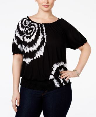 INC International Concepts Plus Size Tie-Dyed Peasant Top, Only at Vogily