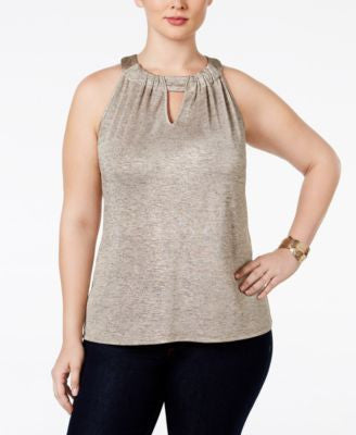 INC International Concepts Plus Size Keyhole Halter Top, Only at Vogily