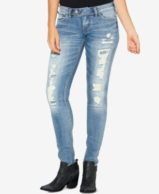 Silver Jeans Co. Tuesday Ripped Indigo Wash Skinny Jeans