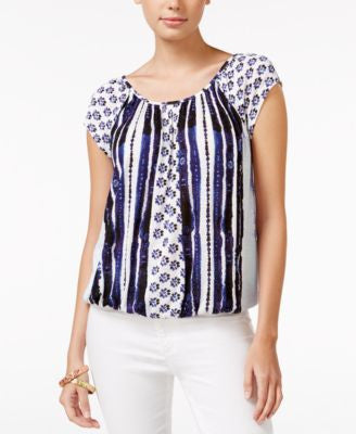 American Rag Printed Cap-Sleeve Blouson Top, Only at Vogily