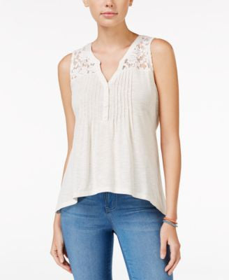 American Rag Crochet-Yoke Pintucked Sleeveless Top, Only at Vogily