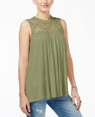 American Rag Juniors' Crocheted Ruffled-Neck Top, Only at Vogily