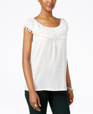 Style & Co. Off-The-Shoulder Pom-Pom-Trim Top, Only at Vogily