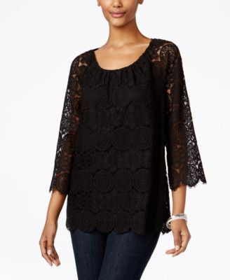 Style & Co. Bell-Sleeve Lace Top, Only at Vogily