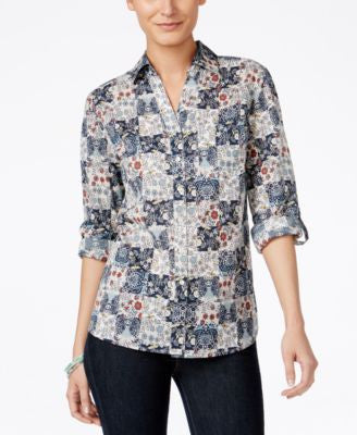Style & Co. Petite Printed Tab-Sleeve Shirt, Only at Vogily