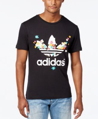 adidas Originals Men's Floral-Print Logo T-Shirt