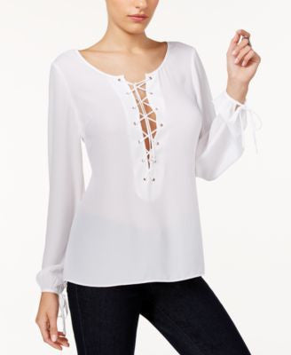 GUESS Nanette Lace-Up Blouse