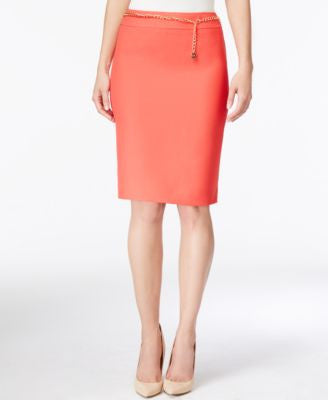 Tahari ASL Belted Textured Pencil Skirt
