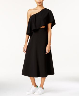 RACHEL Rachel Roy One-Shoulder Flounce Midi Dress