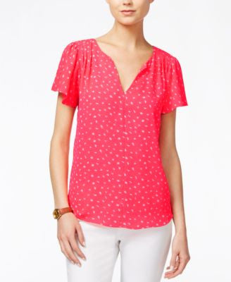 Maison Jules Printed Flutter-Sleeve Top, Only at Vogily