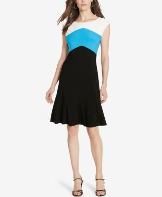 American Living Colorblocked A-Line Dress