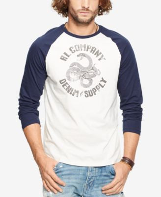 Denim & Supply Ralph Lauren Men's Jersey Graphic Baseball Shirt
