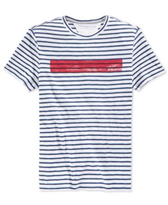 Tommy Hilfiger Men's Striped Graphic Print T-Shirt