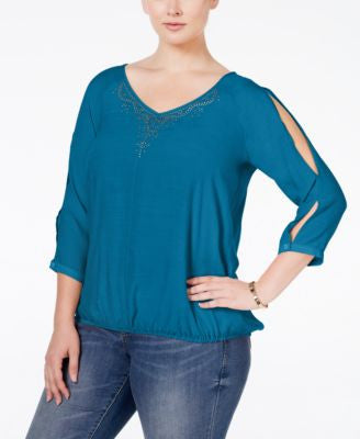 NY Collection Plus Size Cold-Shoulder Blouson Top