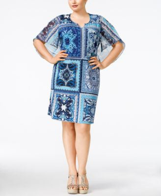 NY Collection Plus Size Angel-Sleeve Printed Shift Dress