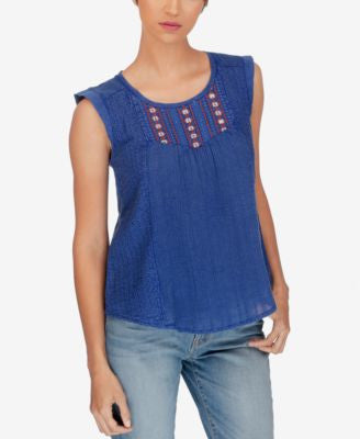 Lucky Brand Sleeveless Embroidered Blouse