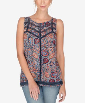 Lucky Brand Printed Open-Stitched Tank Top