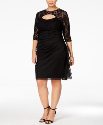 Betsy & Adam Plus Size Lace Cutout Cocktail Dress