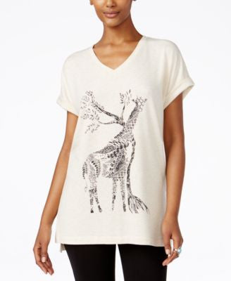 Style & Co. Giraffe Graphic Short-Sleeve Sweatshirt, Only at Vogily