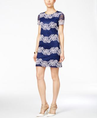 Jessica Simpson Short-Sleeve Lace Stripe Shift Dress
