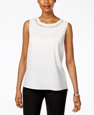 Tahari ASL Sleeveless Cutout Blouse