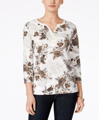 Karen Scott Petite Floral-Print Henley Top, Only at Vogily