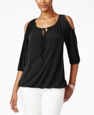 NY Collection Petite Cold-Shoulder Keyhole Blouse