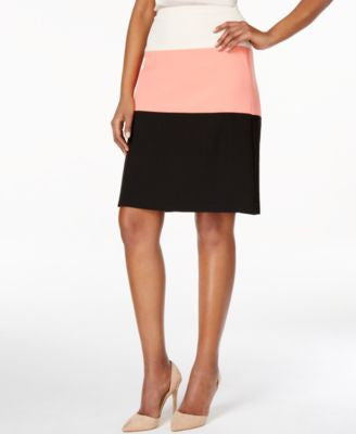 Kasper Petite Colorblocked A-Line Skirt