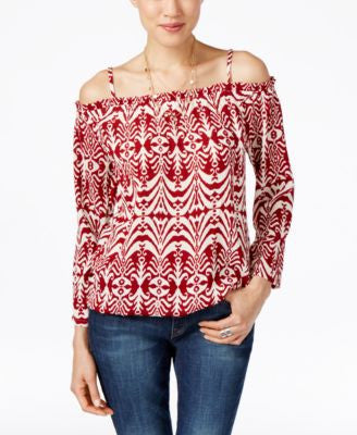 INC International Concepts Petite Printed Cold-Shoulder Top, Only at Vogily