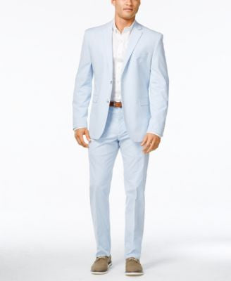 Perry Ellis Portfolio Men's Slim-Fit Light Blue Seersucker Suit