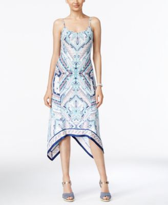 ECI Printed A-Line Handkerchief-Hem Dress