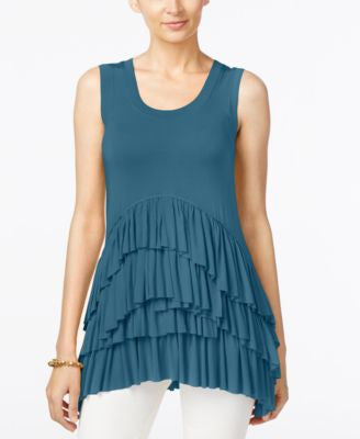 Grace Elements Sleeveless Tiered Ruffled-Hem Top