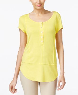 Grace Elements Short-Sleeve Henley Top