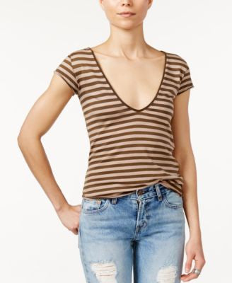 Free People Avery V-Neck Striped T-Shirt